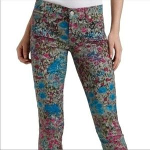 7 For All Mankind Floral Skinny Ankle Jeans 27